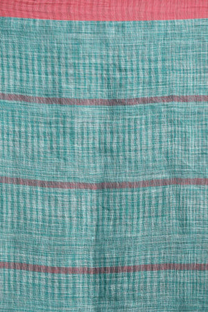 Teal Blue Linen Cotton Saree With Pompom