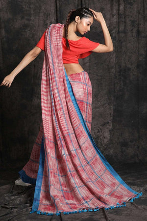 Brick Red Linen Cotton Saree With Pompom Cotton Threads Of India Roopkatha - A Story of Art
