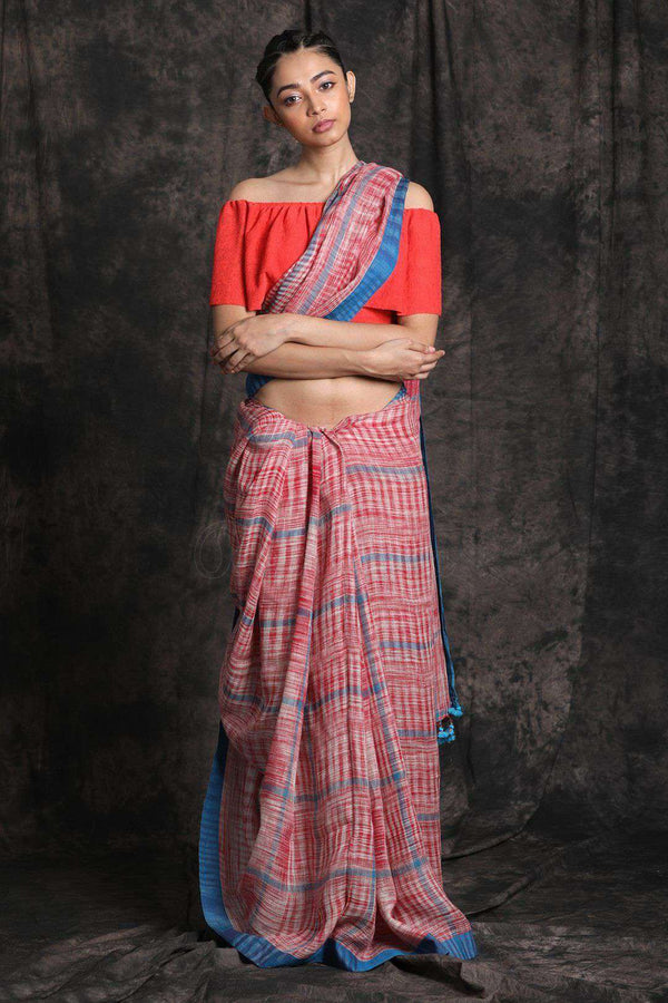 Brick Red Linen Cotton Saree With Pompom