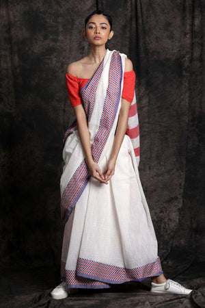 White Cotton Saree With Woven Design