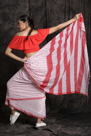 White Cotton Saree With Red Border