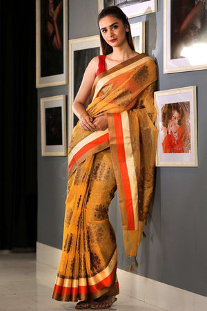 Yellow Varanasi Cotton Saree With Zari VARANASI CHRONICLES Roopkatha - A Story of Art