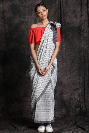 White Pure Cotton Saree With Grey Border
