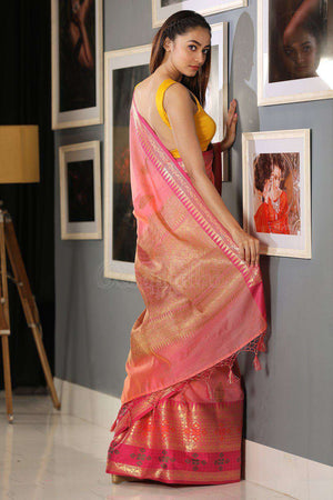 Pink Varanasi Cotton Saree With Zari VARANASI CHRONICLES Roopkatha - A Story of Art