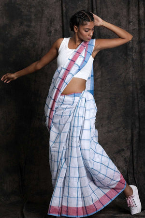 White Pure Cotton Saree With Blue Checks