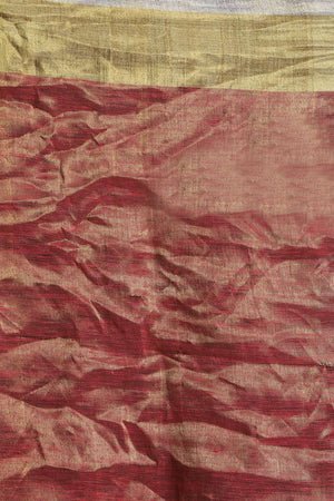 Red Tone Linen Zari Saree Earthen Collection Roopkatha - A Story of Art