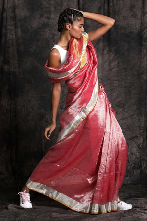 Red Tone Linen Zari Saree