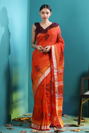 Orange Linen Saree With Handblock Prints