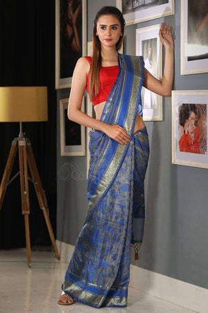 Blue Varanasi Handloom Saree With Zari VARANASI CHRONICLES Roopkatha - A Story of Art