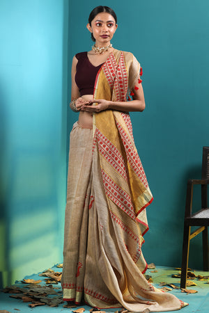 Beige Linen Saree With Handblock Prints