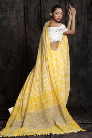 White & Yellow Check Cotton Saree