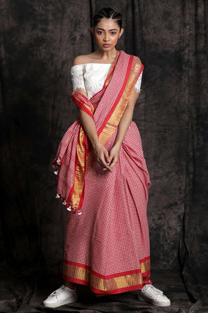 Red Pure Cotton Saree With Pompom