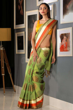 Green Varanasi Cotton Saree With Zari VARANASI CHRONICLES Roopkatha - A Story of Art