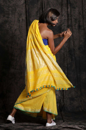 Yellow Pure Cotton Saree With Zari Border Cotton Threads Of India Roopkatha - A Story of Art