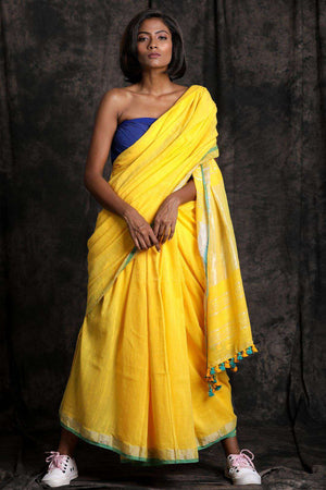 Yellow Pure Cotton Saree With Zari Border