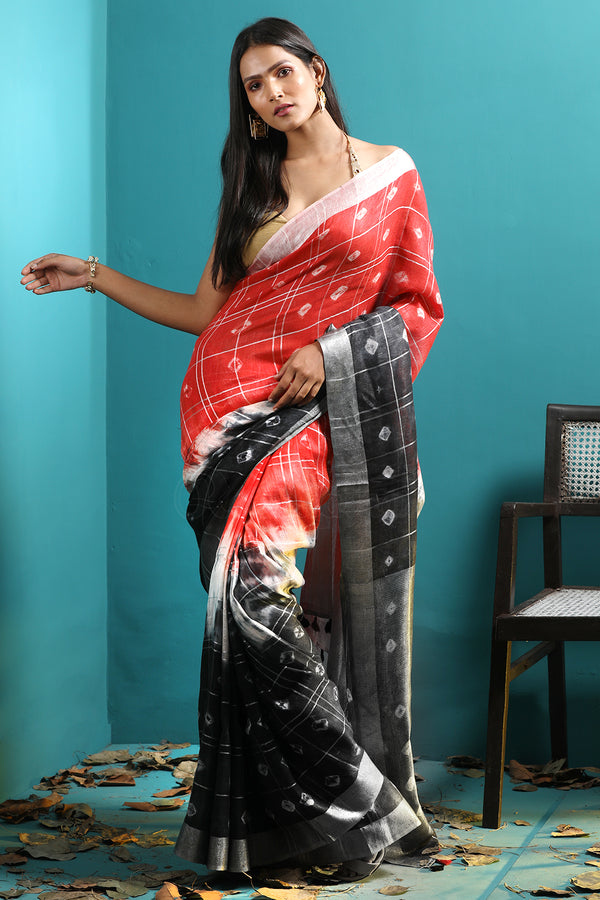 Red & Black Linen Saree With Bandhani Designs