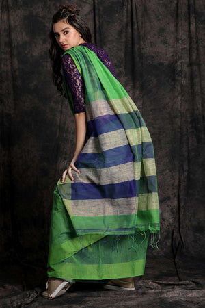 Green Blended Cotton Saree With Striped Border