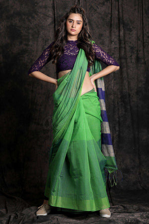 Green Blended Cotton Saree With Striped Border Akasha Roopkatha - A Story of Art
