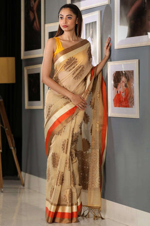 Eggnog Cream Varanasi Cotton Saree With Motif VARANASI CHRONICLES Roopkatha - A Story of Art
