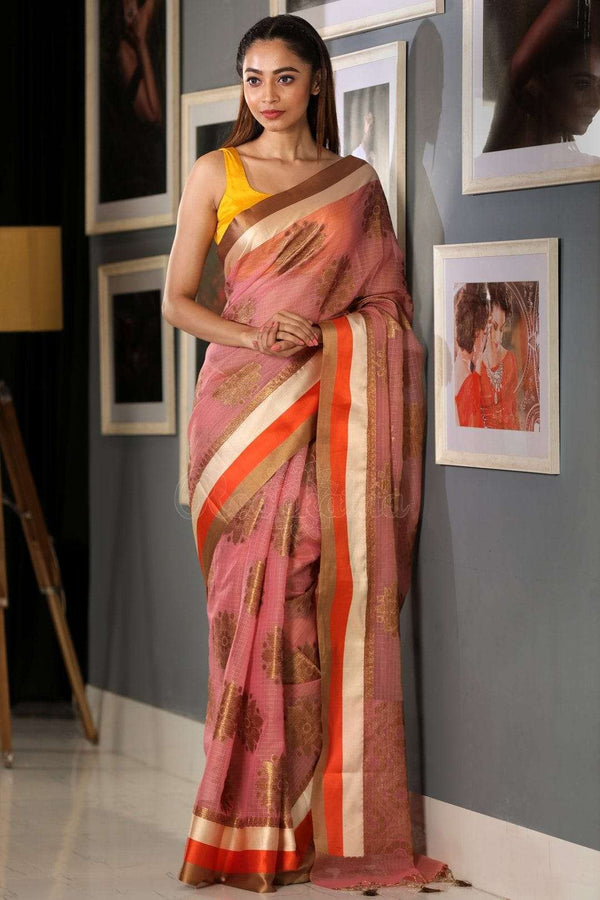 Flamingo Pink Varanasi Cotton Saree With Zari Motif VARANASI CHRONICLES Roopkatha - A Story of Art