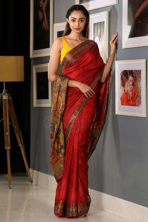 Scarlet Red Tussar Silk With Printed Kalamkari Design