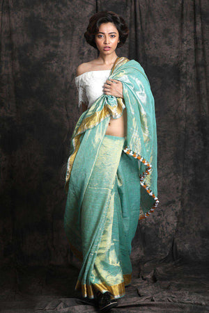 Light Blue Zari Linen Saree Earthen Collection Roopkatha - A Story of Art