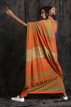 Green & Orange Check Pure Cotton Saree Cotton Threads Of India Roopkatha - A Story of Art