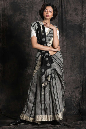 Black & White Linen Ghicha Saree Earthen Collection Roopkatha - A Story of Art