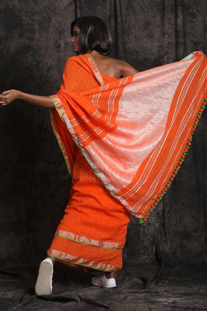 Orange Pure Cotton Saree With Zari