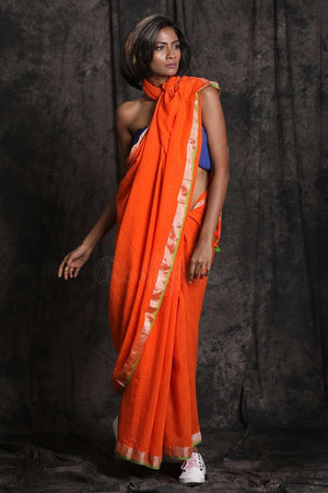 Orange Pure Cotton Saree With Zari Cotton Threads Of India Roopkatha - A Story of Art