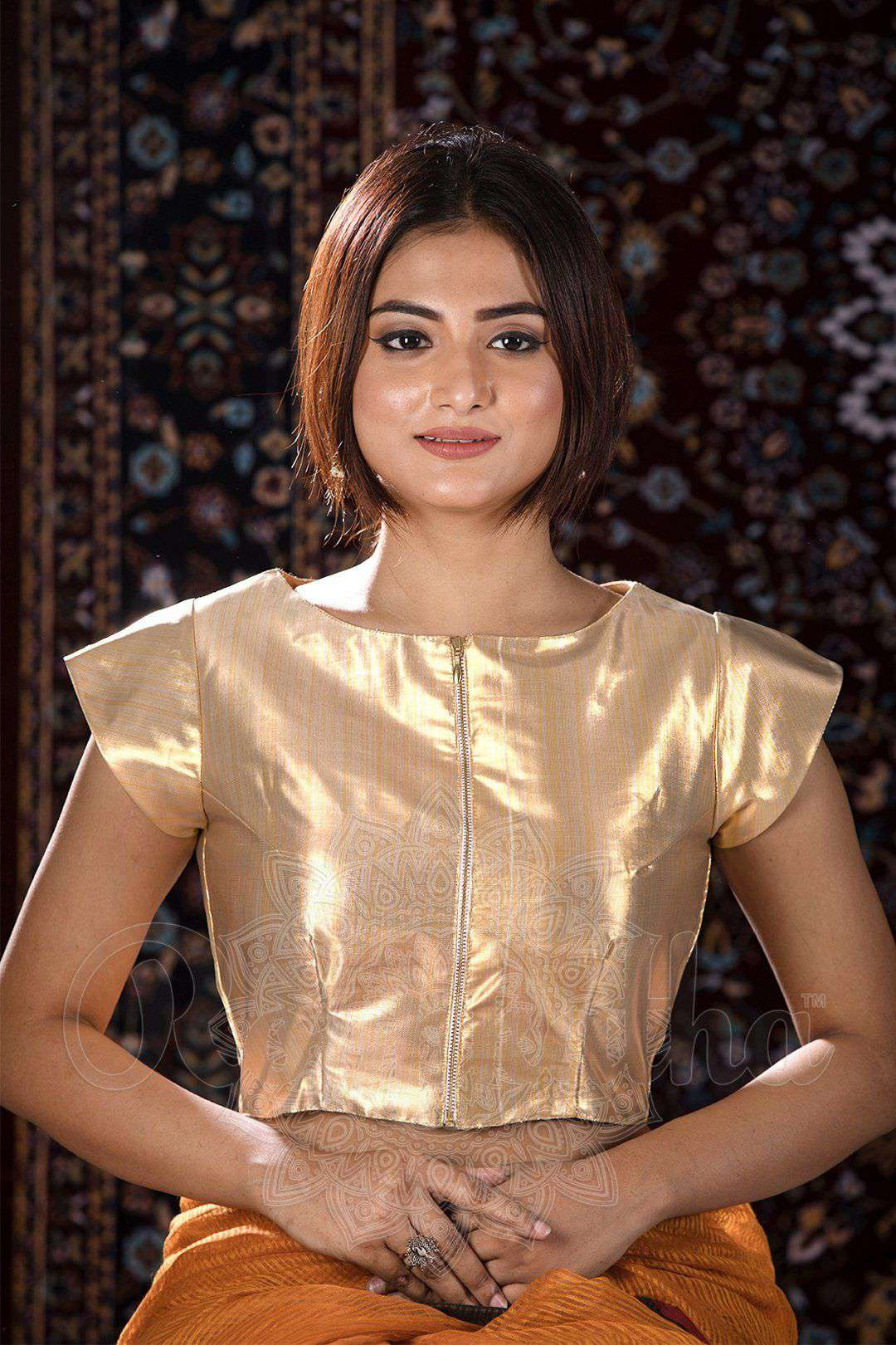 a5405dcfa0207 Gold Round Neck Cap Sleeve Blouse - Roopkatha - A Story of Art