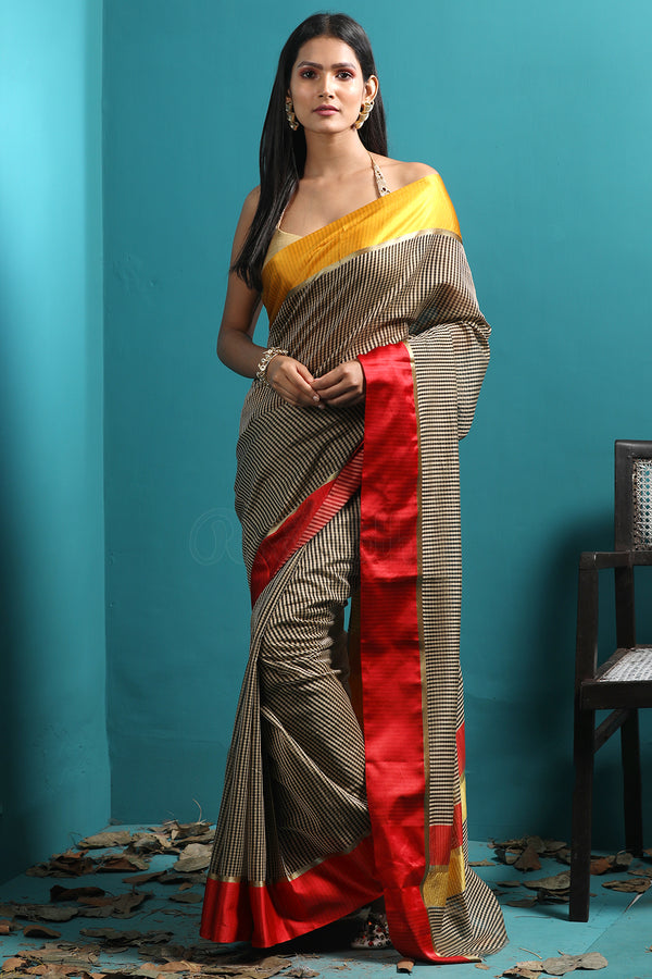 Grey Chanderi Saree With Dual Borders & Zari