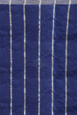 Blue Linen Zari Saree With Striped Design