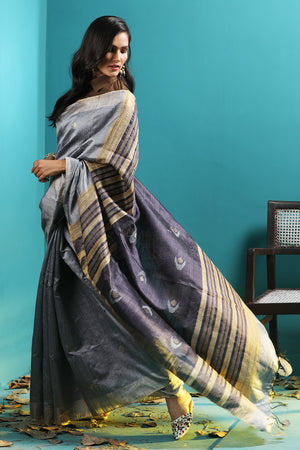 Metallic Blue Dupion Blended Gheecha Silk Saree With Woven Motifs