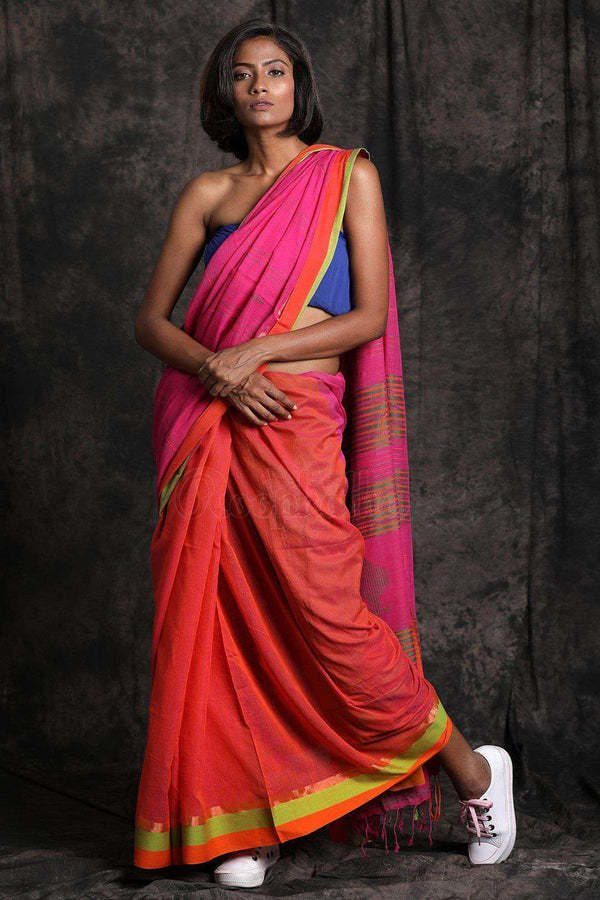 Bi-Color Pure Cotton Saree With Woven Pallu Cotton Threads Of India Roopkatha - A Story of Art