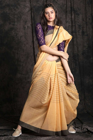Pure Cotton Saree With Woven Pallu Cotton Threads Of India Roopkatha - A Story of Art