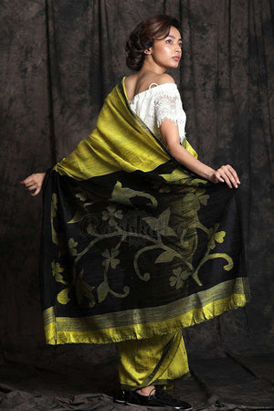 Lime Green Matka Silk Saree Kriti Classics Roopkatha - A Story of Art