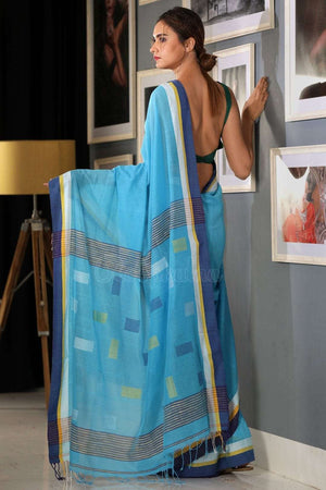 Cerulean Cotton Saree With Denim Blue Border Cotton Threads Of India Roopkatha - A Story of Art