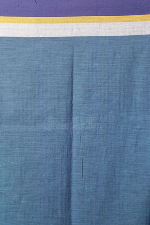 Cerulean Cotton Saree With Denim Blue Border