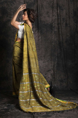 Linen Saree With Woven Design Earthen Collection Roopkatha - A Story of Art