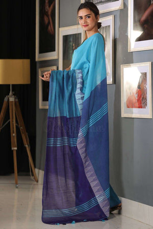 Cerulean Cotton Saree With Cobalt Blue Pallu