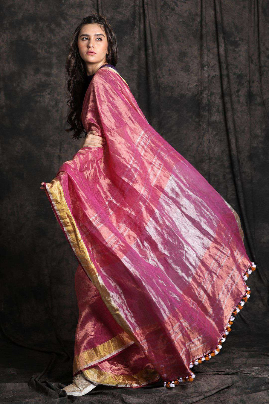 Bright Tone Linen Zari Saree Earthen Collection Roopkatha - A Story of Art