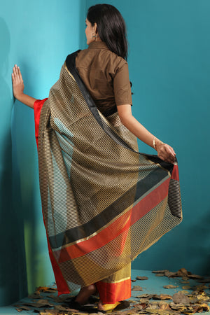 Grey Checkered Chanderi Saree With Red & Black Borders