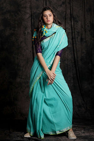 Light Blue Pure Cotton Saree With Zari