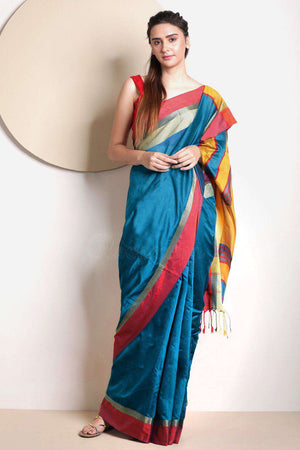 Blue Blended Cotton Saree With Plain Border