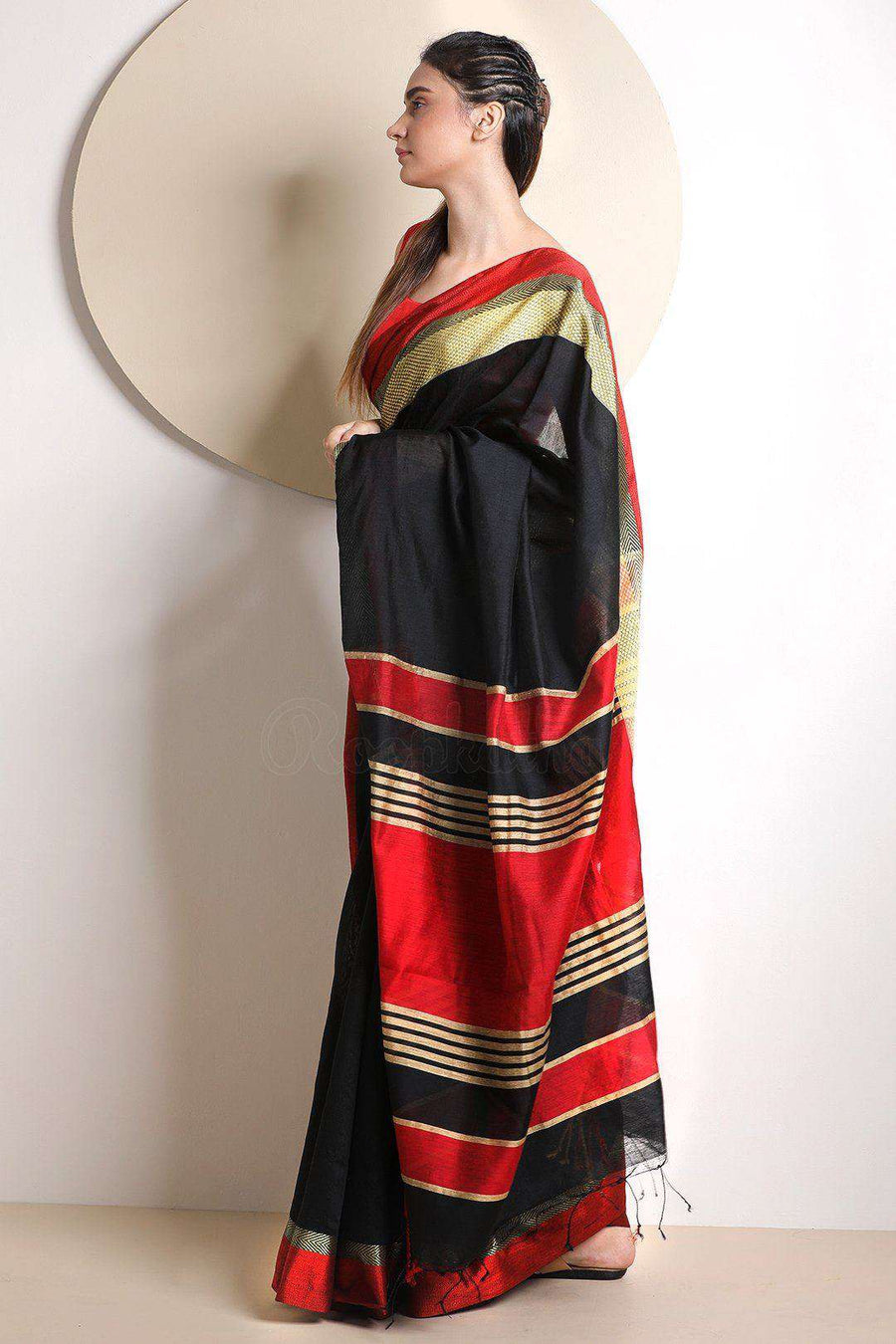 Black Blended Cotton Saree With Plain Border Akasha Roopkatha - A Story of Art