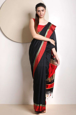 Black Blended Cotton Saree With Plain Border