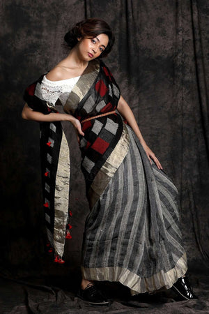 Grey & Black Linen Ghicha Saree With Pompom