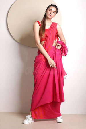 Pink Cotton Saree With Striped Design