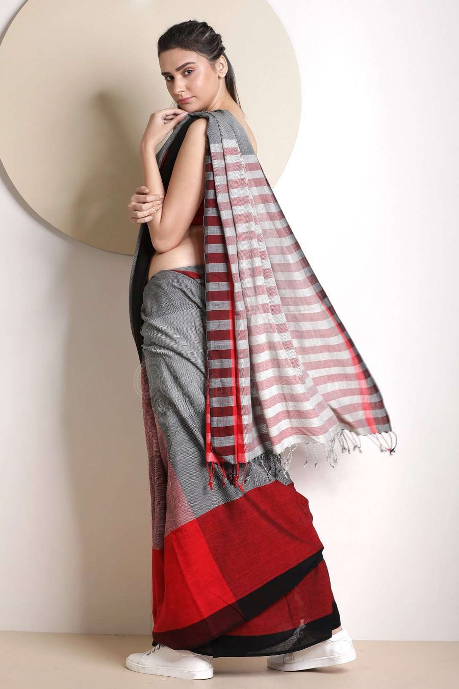 Grey Cotton Saree With Woven Texture